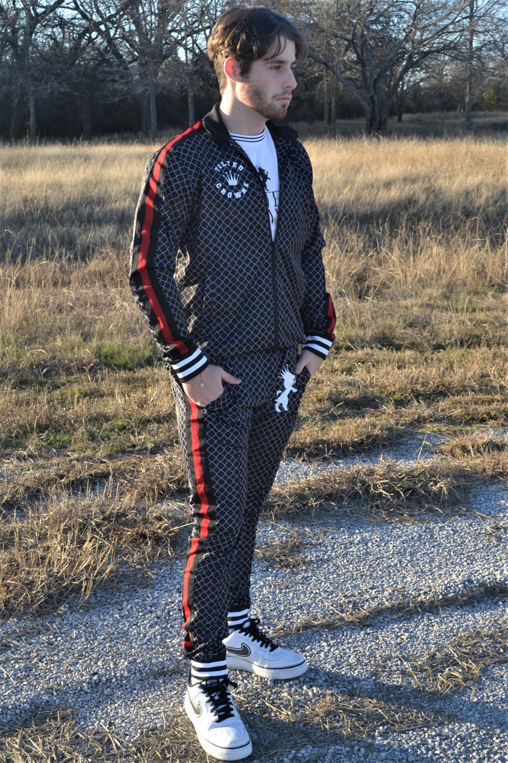 Tilted Crowne Black Funnel Stripe Skinny Fit Tracksuit