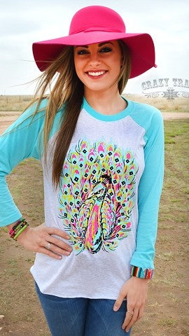 Fancy Feathers Baseball Tee by Crazy Train