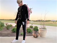 Tilted Crowne Black Multi Stripe Zip Through Tracksuit