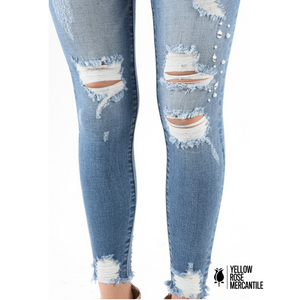 KanCan Distressed/Jeweled Jeans