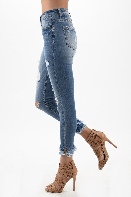 KanCan Double Frayed Ankle Jeans