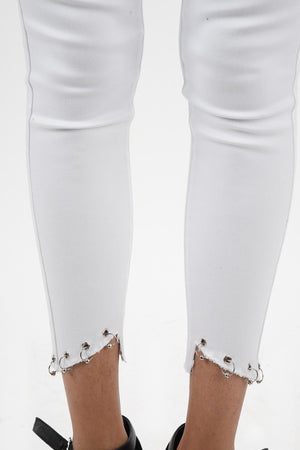 KanCan White Silver Hoop Jeans