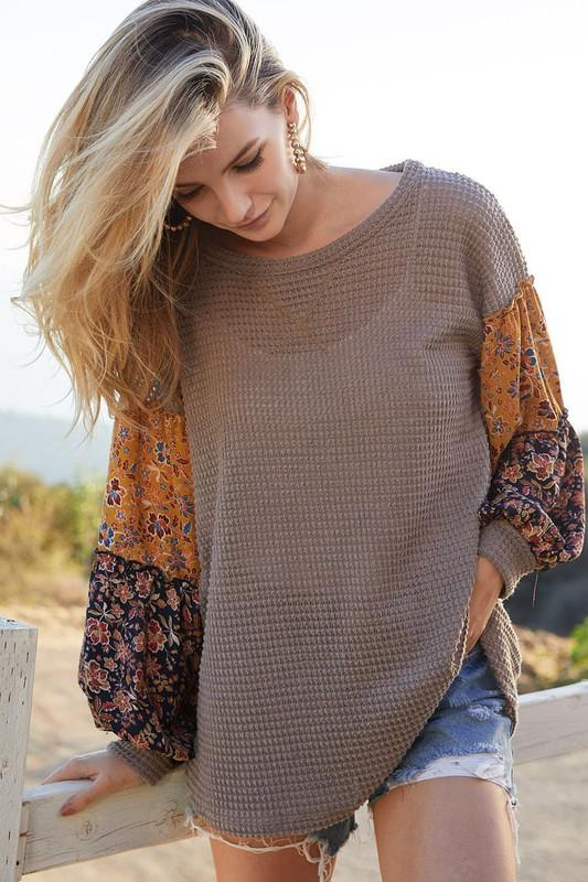 Charcoal Waffle Top Floral Print Sleeves