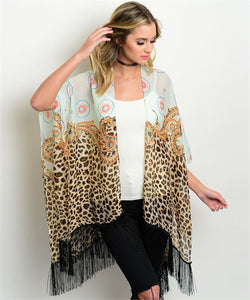 Mint Paisley Animal Print Scarf