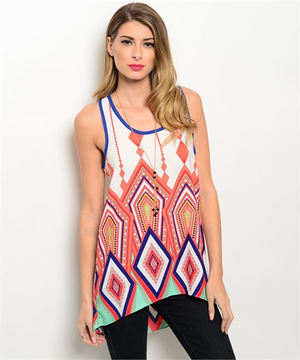 Multi Color Sleeveless Tunic