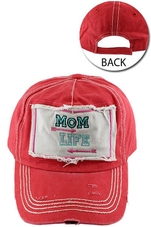 """Mom Life"" Red Baseball Cap"