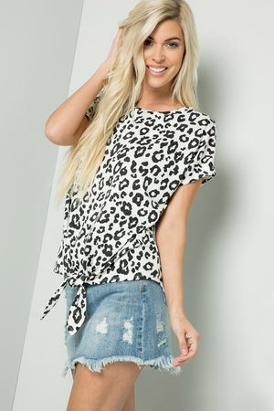 Short Sleeve Animal Print Front Tie
