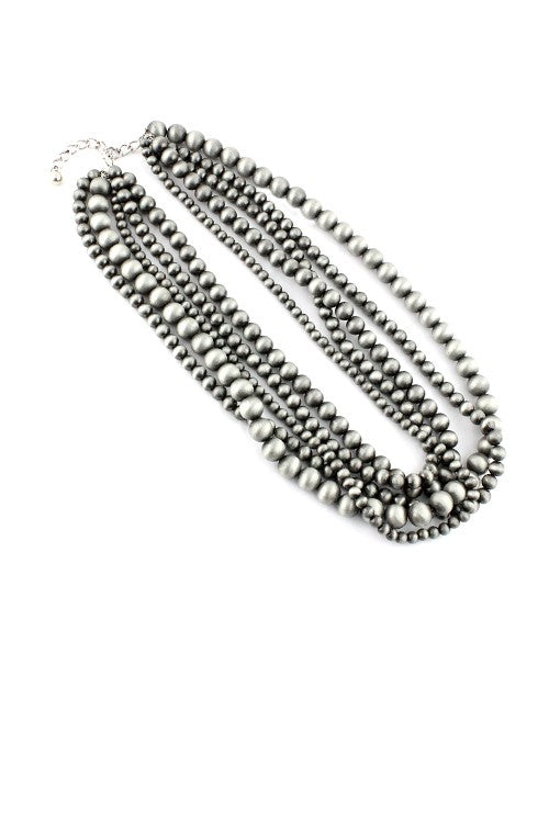Silver Layered Navajo Pearl Necklace