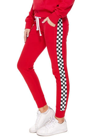 Red Checkered Jogging Set