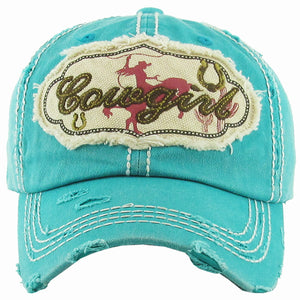 """Cowgirl"" Turquoise Distressed Baseball Cap"