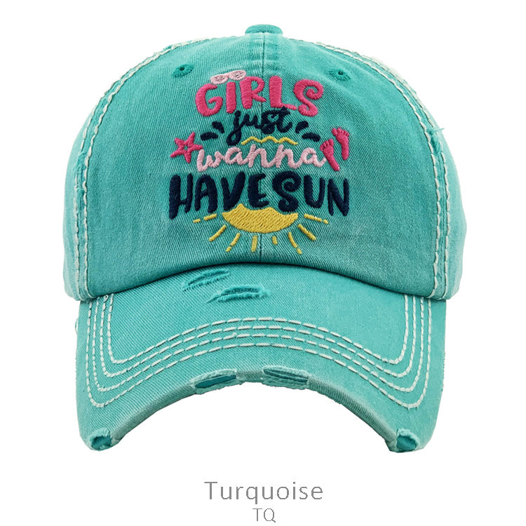 """GIRLS JUST WANT TO HAVE SUN"" Turquoise Cap"