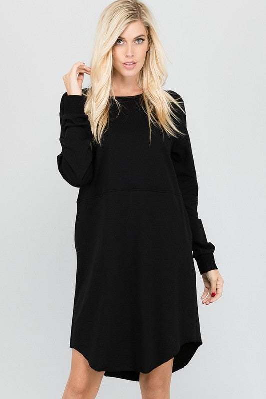 French Terry Solid Black Dress w/Pockets