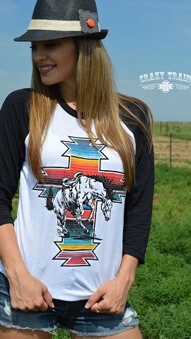 Serape War Paint Baseball Tee by Crazy Train