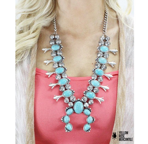 "Turquoise Squash Blossom Necklace 24"" (Earrings)"