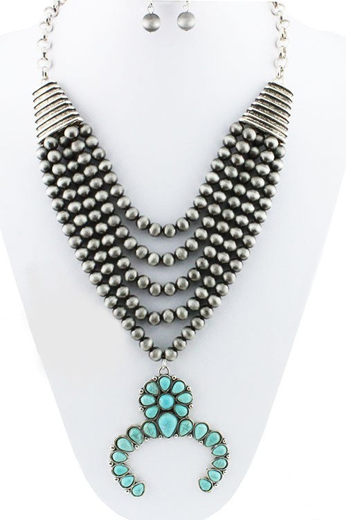 Silver/Turquoise Multi Stand Squash Blossom Necklace Set