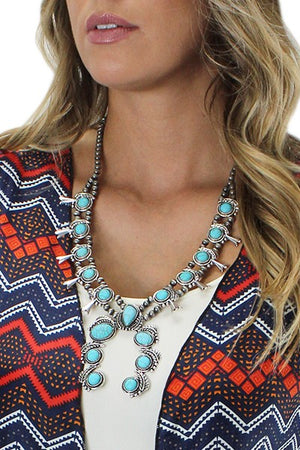 Silver/Turquoise Beaded Squash Blossom Necklace Set