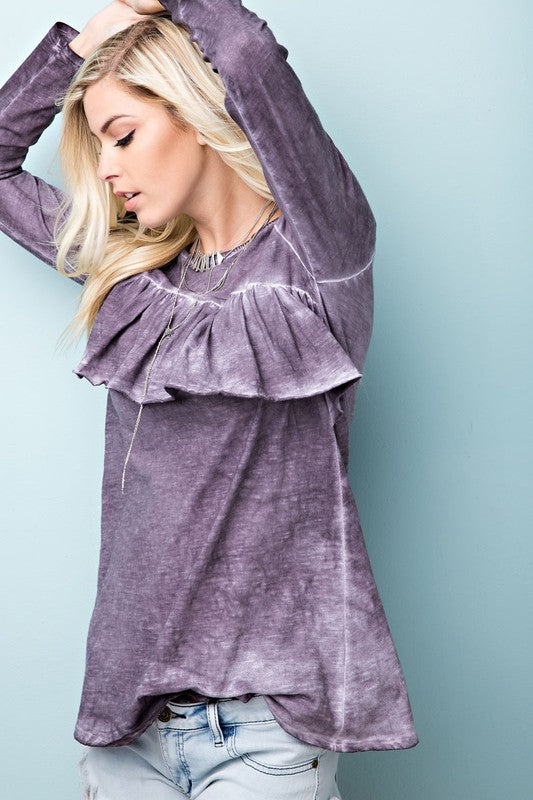 Purple Long Sleeve Cotton Jersey with Asymmetric Ruffle