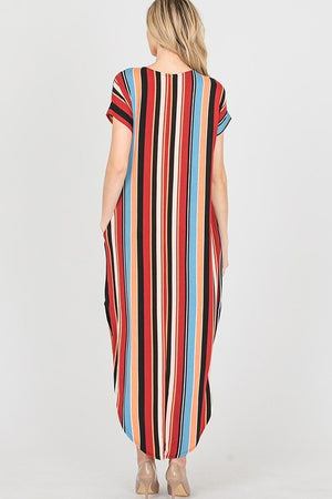 Red/Multi Color Stripe Maxi Dress