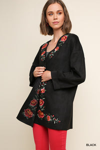 Umgee Black Suede Floral Embroidered Jacket