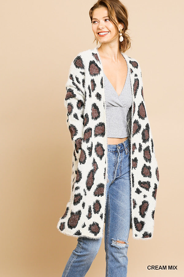 Umgee Animal Print Long Sweater Cardigan