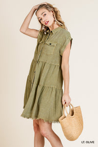 Umgee Olive Button Front Ruffle Dress