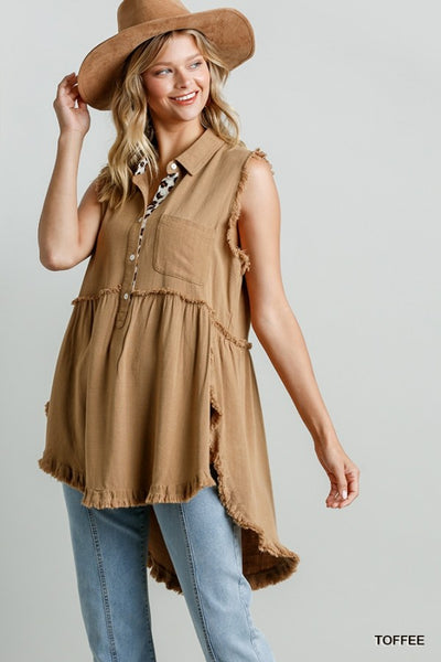 Umgee Toffee Sleeveless Tunic Animal Print Detail