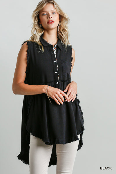 Umgee Black Sleeveless Tunic Animal Print Detail