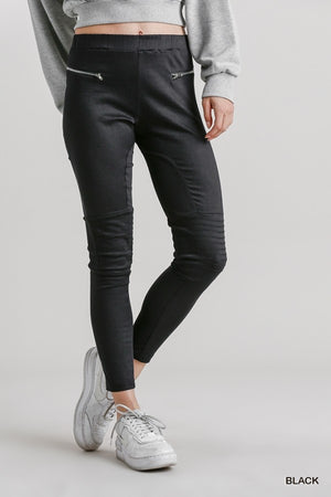 Umgee Black Moto Jeggings