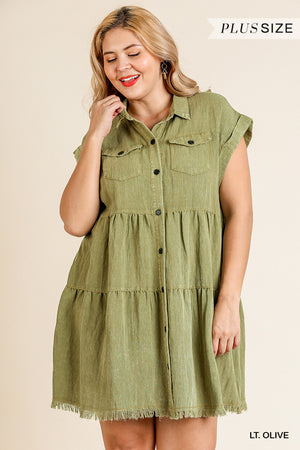 Plus Size Umgee Olive Button Front Ruffle Dress