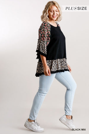 Plus Size Floral/Animal Print Bell Sleeve Top