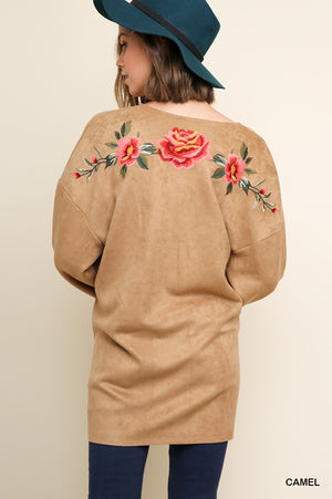 Umgee Suede Floral Embroidered Jacket