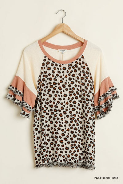 Umgee Animal Print Layered Sleeves