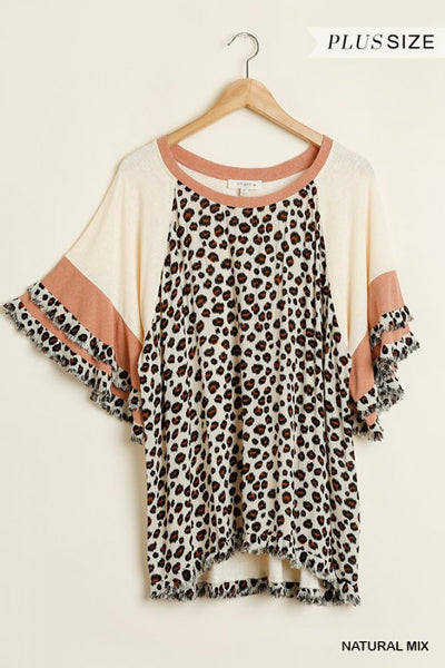 Umgee Plus Size Animal Print Top Layered Sleeves