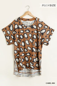 Plus Size Camel Color Animal Print Top