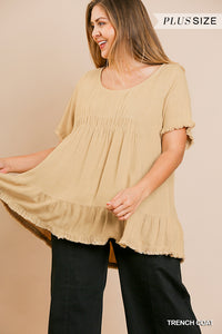 Plus Size Umgee Honey-Beige Top Frayed Hem