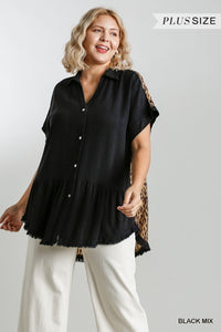 Plus Size Black/Animal Print Button Down Top