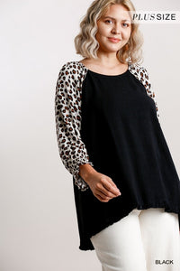 Plus Size Black Top Animal Print Sleeves