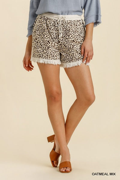 Umgee Beige Animal Print Shorts w/Fringe