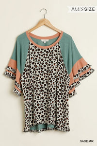 Plus Size Sage Animal Print Layered Sleeves