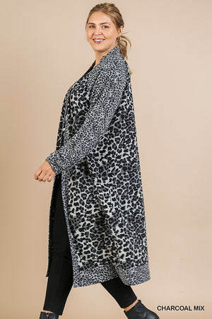 Plus Size Umgee Long Sleeve Animal Print Cardigan