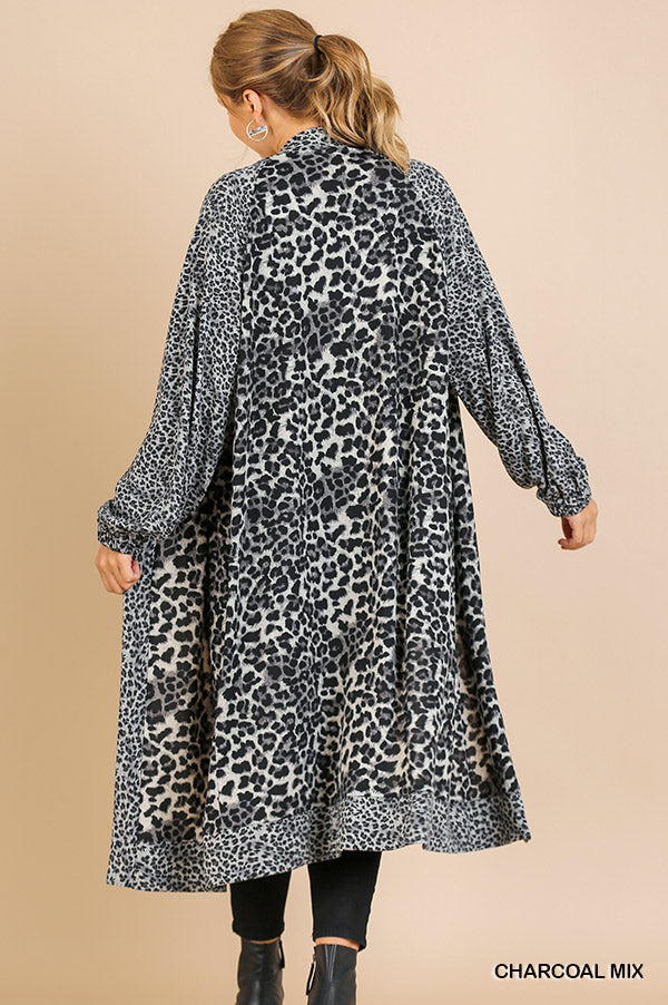 Plus Size Umgee Animal Print Long Sleeve Cardigan