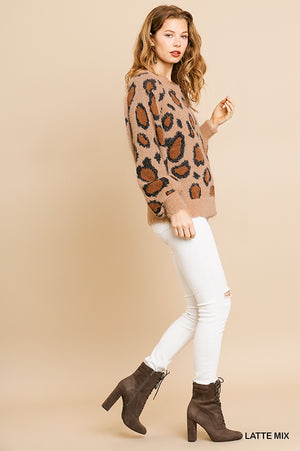Umgee Soft & Fuzzy Animal Print Sweater