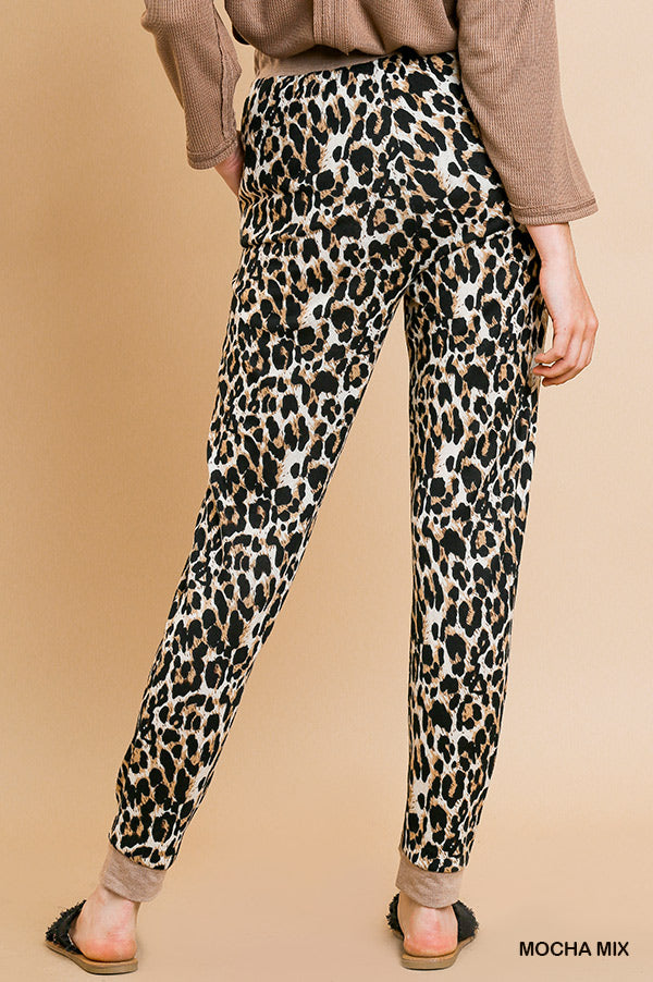Umgee Animal Print High Waist Jogging Pants