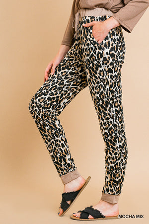 Umgee Animal Print High Waist Lounging Pants