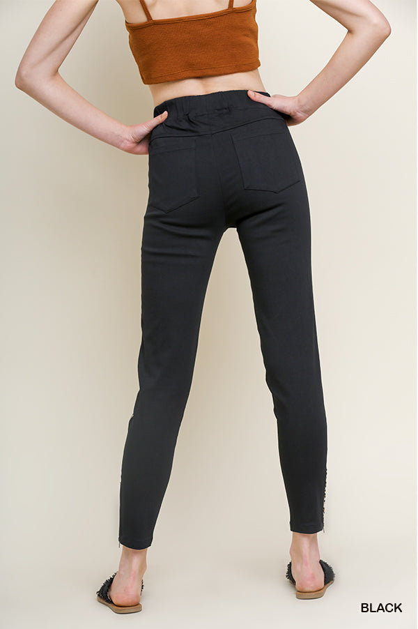 Umgee Black Leopard Stretch Pants