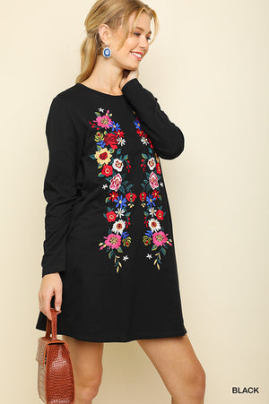 Umgee Floral Embroidered Black Dress