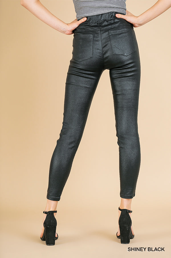 Umgee Black Faux Leather Moto Jeggings