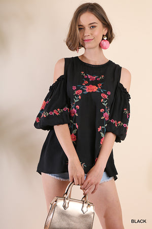 Umgee Black Embroidered Puffy Sleeve