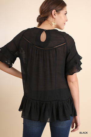 Black Floral Embroidered Ruffle Top