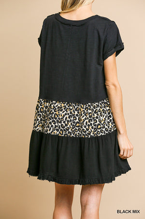 Umgee Animal Print Ruffle Dress